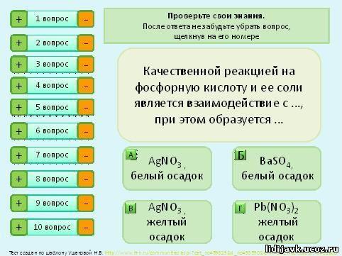 Химии программу по тестами с